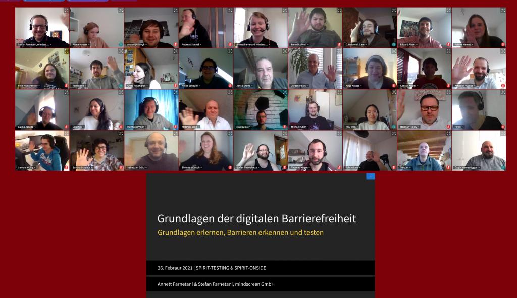 Das Foto zeigt Mitarbeiter der SPIRIT-TESTING und SPIRIT-ONSIDE, die online am Workshop Grundlagen der digitalen Barrierefreiheit teilnehmen sowie die Titelfolie der Präsentation.
